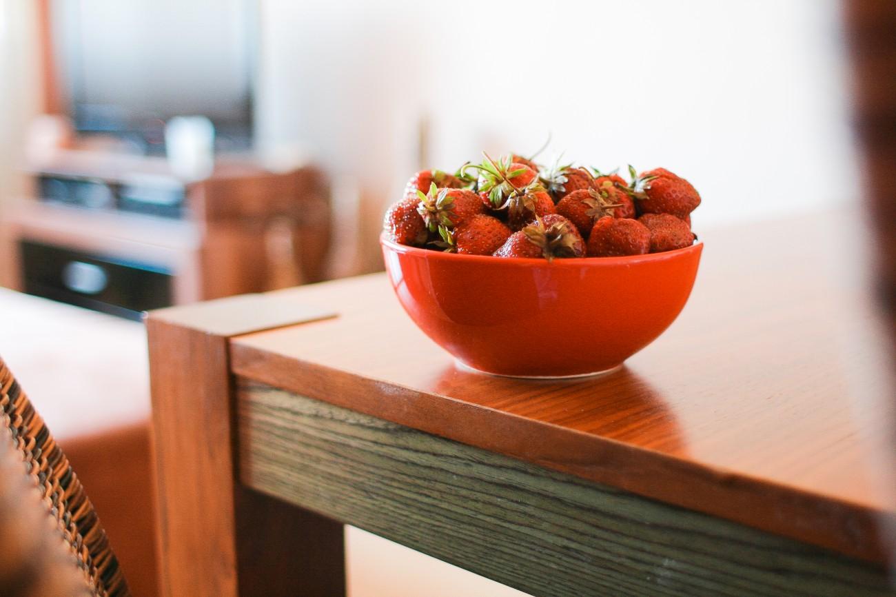 A bowl of fresh strawberries